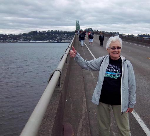 Mom on the Scary-Ass Bridge in the middle of a 10K
