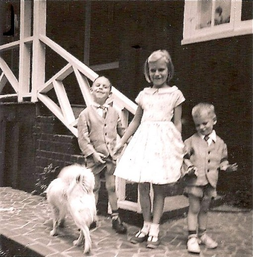 Left to right: Sandy the Dog, Scott, Me, Roger. All wearing Easter finery Made by Mom