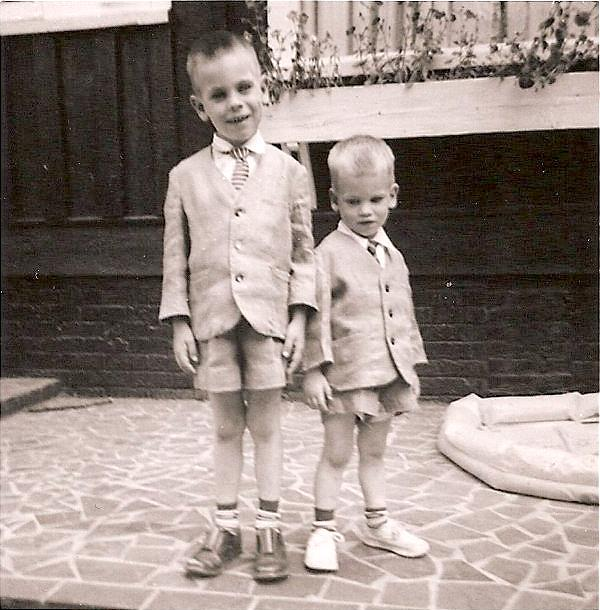 Scott (left) and Roger shortly before Scott's front teeth connected with the plate