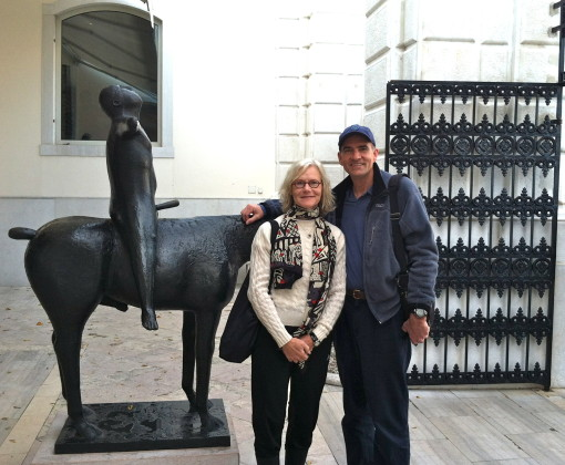 Speaking of Europe, and 'racy', The Dude and I pose in front of an X-rated statue in Venice. Not on the honeymoon (notice we are Old), but on a Big Recent Birthday