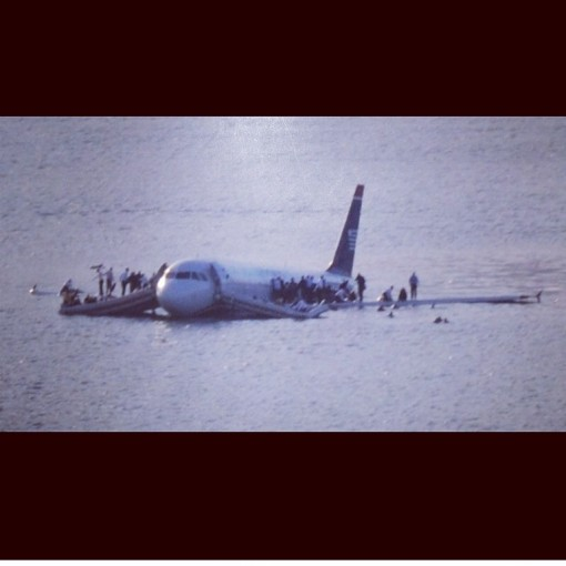 US Airways Flight 1549 after Sully landed smack-dab in the middle of the Hudson. Birds were blamed