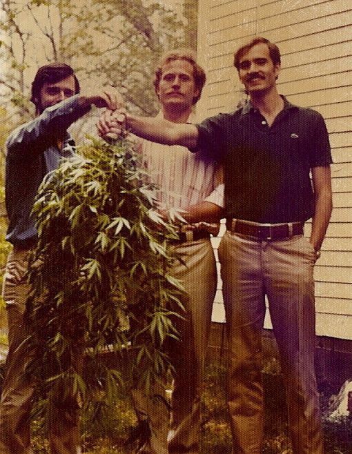 The trendy young mustachioed Dude with fellow mustachioed friends and their backyard crop
