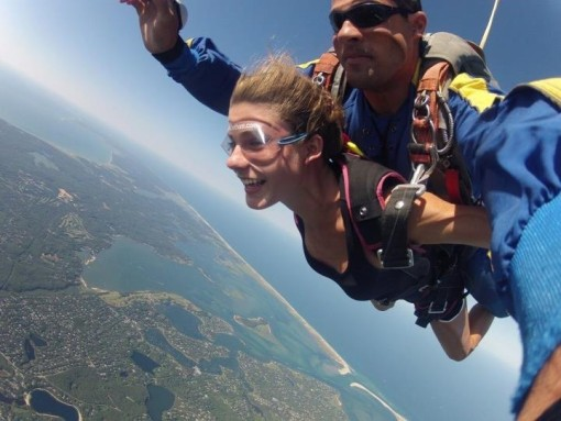 The Child mid-leap over Martha's Vineyard. No, the plane was not on fire. She did this for fun