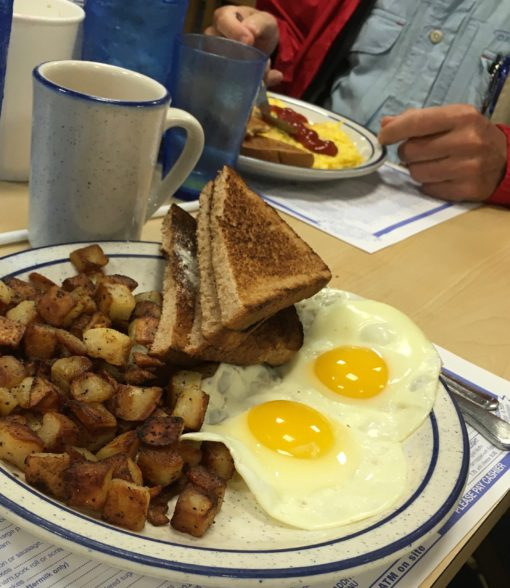 Eating like a bird(er): big platters of eggs (of course)