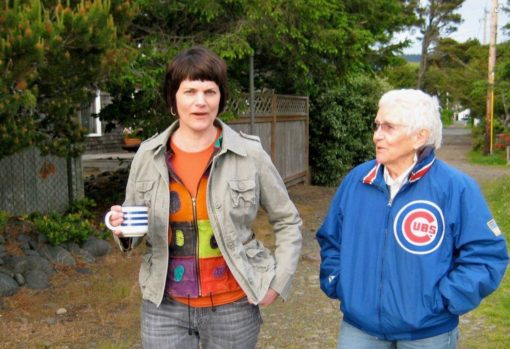 My two favorite Cub Fans, taken in about Year 102 of the World Series Drought. Note Mom's lucky jacket. She's wearing it 24/7 these days