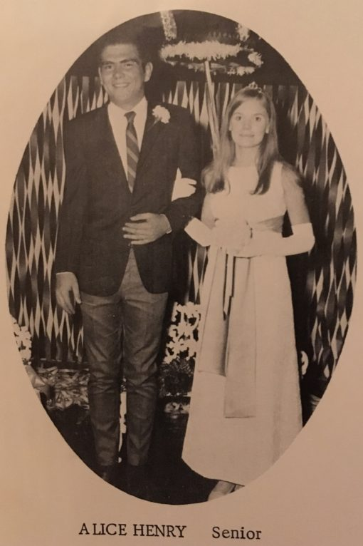 I made it! Here I am, in all my Homecoming Court Glory, clutching the arm of my uncomfortable-looking tall escort. Oh and wearing my tiara with the crushed-velvet gown I sewed myself